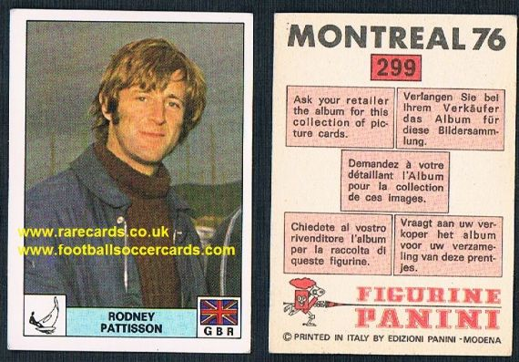 1976 Rodney Pattisson Flying Dutchman Olympic games gold x2 world champion x3 Panini 299 unused